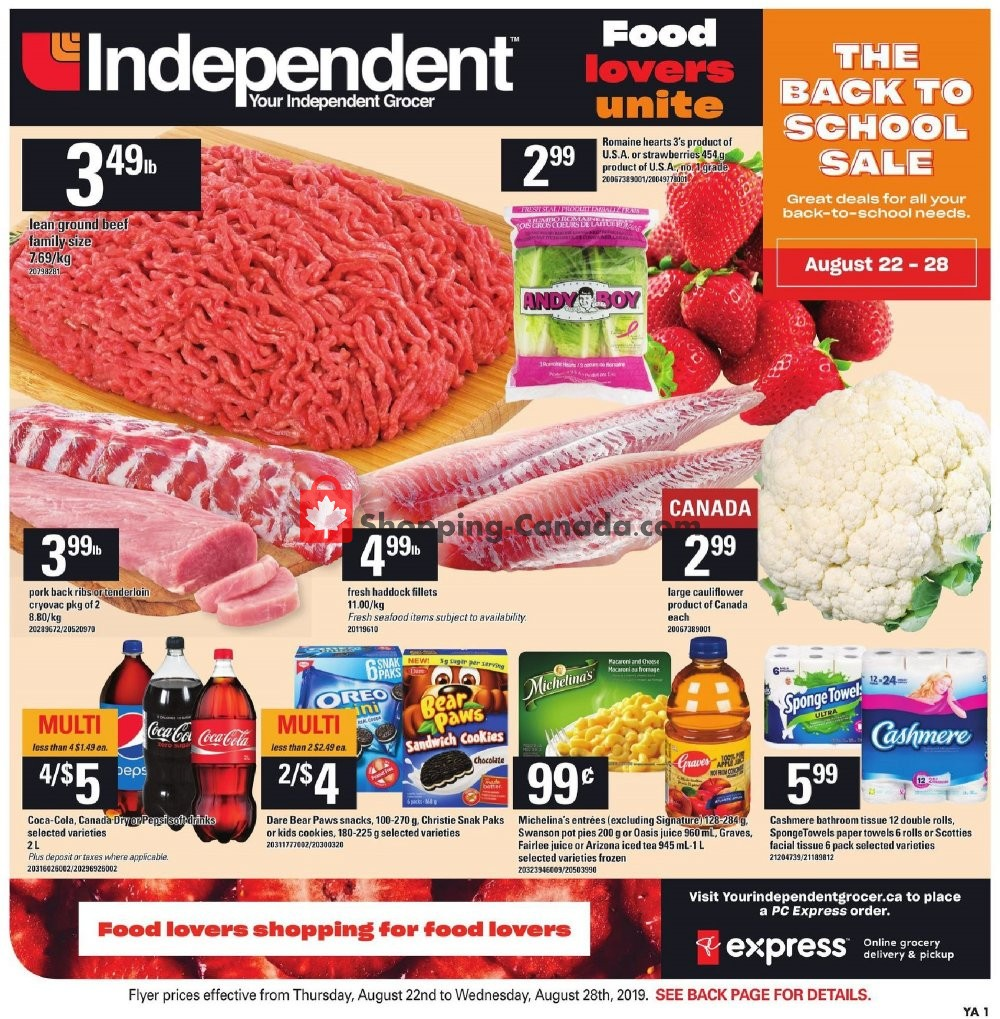 Flyer Your Independent Grocer Canada - from Thursday August 22, 2019 to Wednesday August 28, 2019
