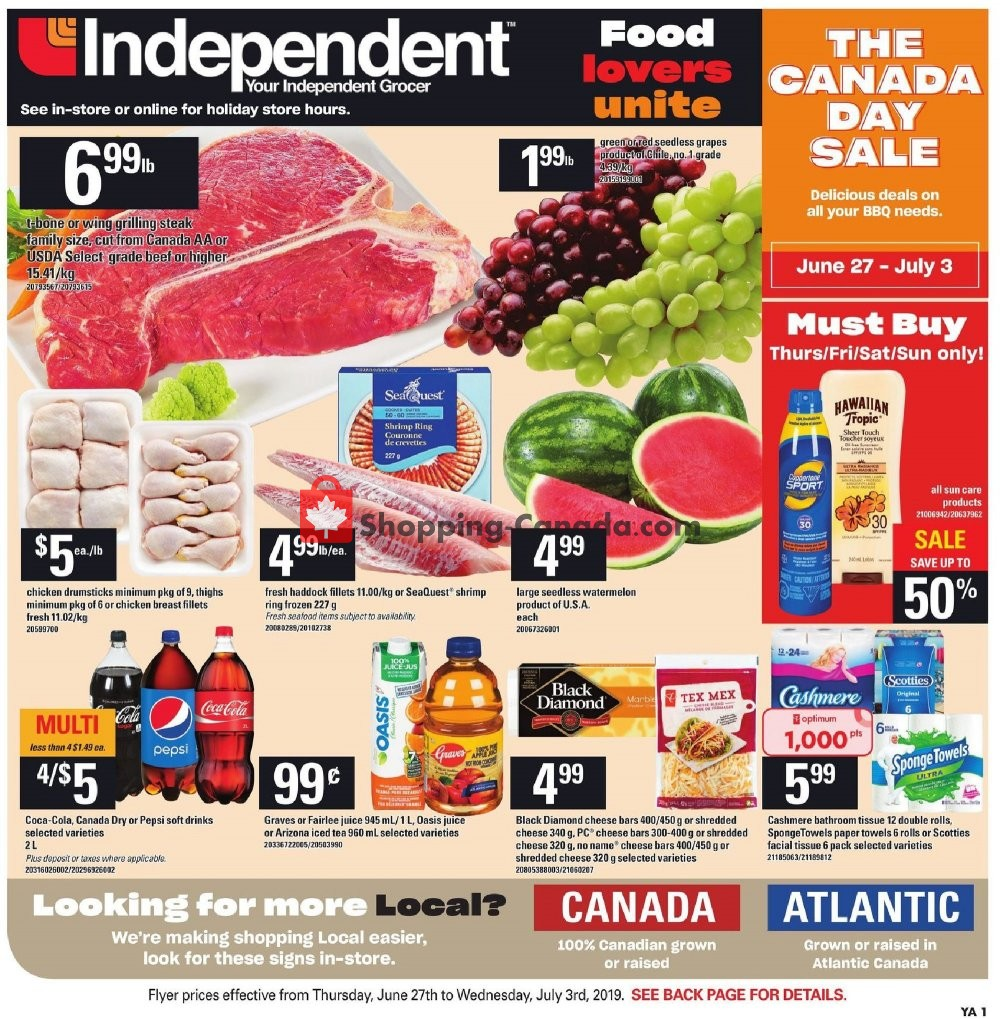 Flyer Your Independent Grocer Canada - from Thursday June 27, 2019 to Wednesday July 3, 2019