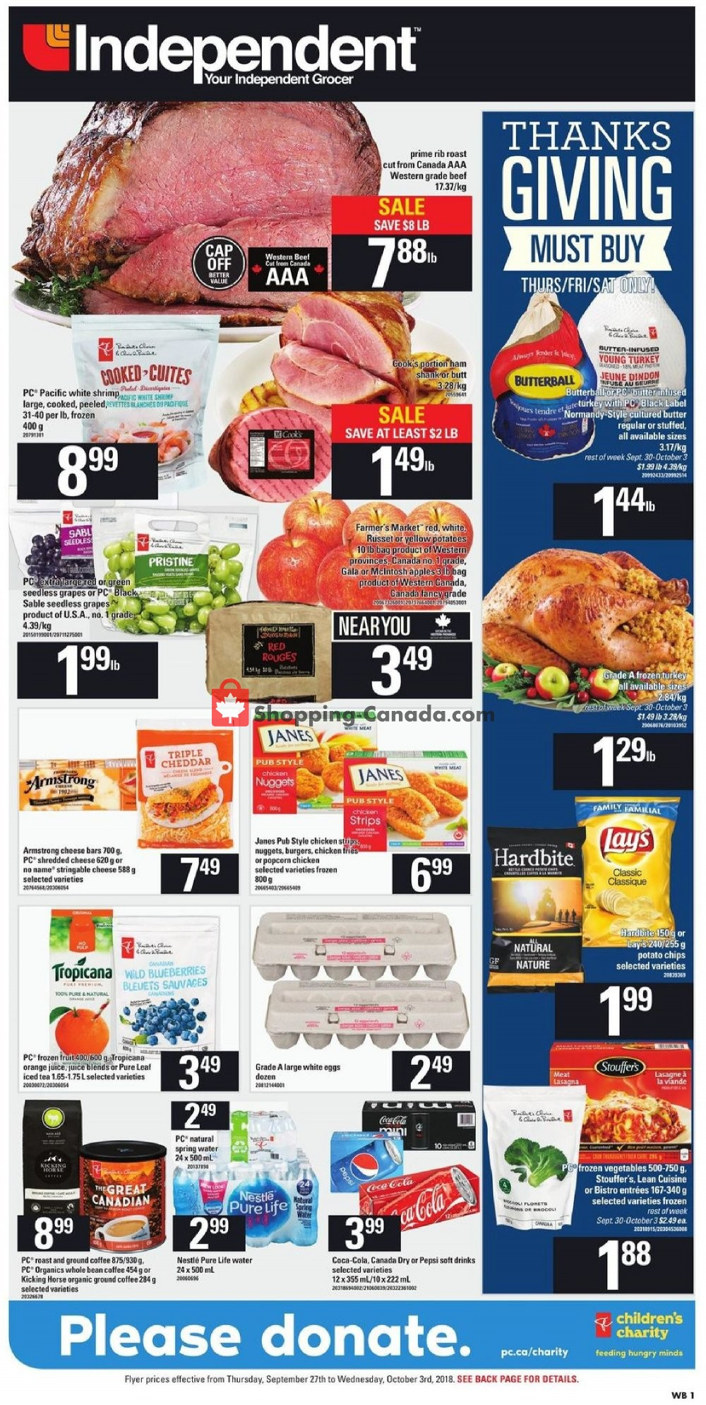Flyer Your Independent Grocer Canada - from Thursday September 27, 2018 to Wednesday October 3, 2018