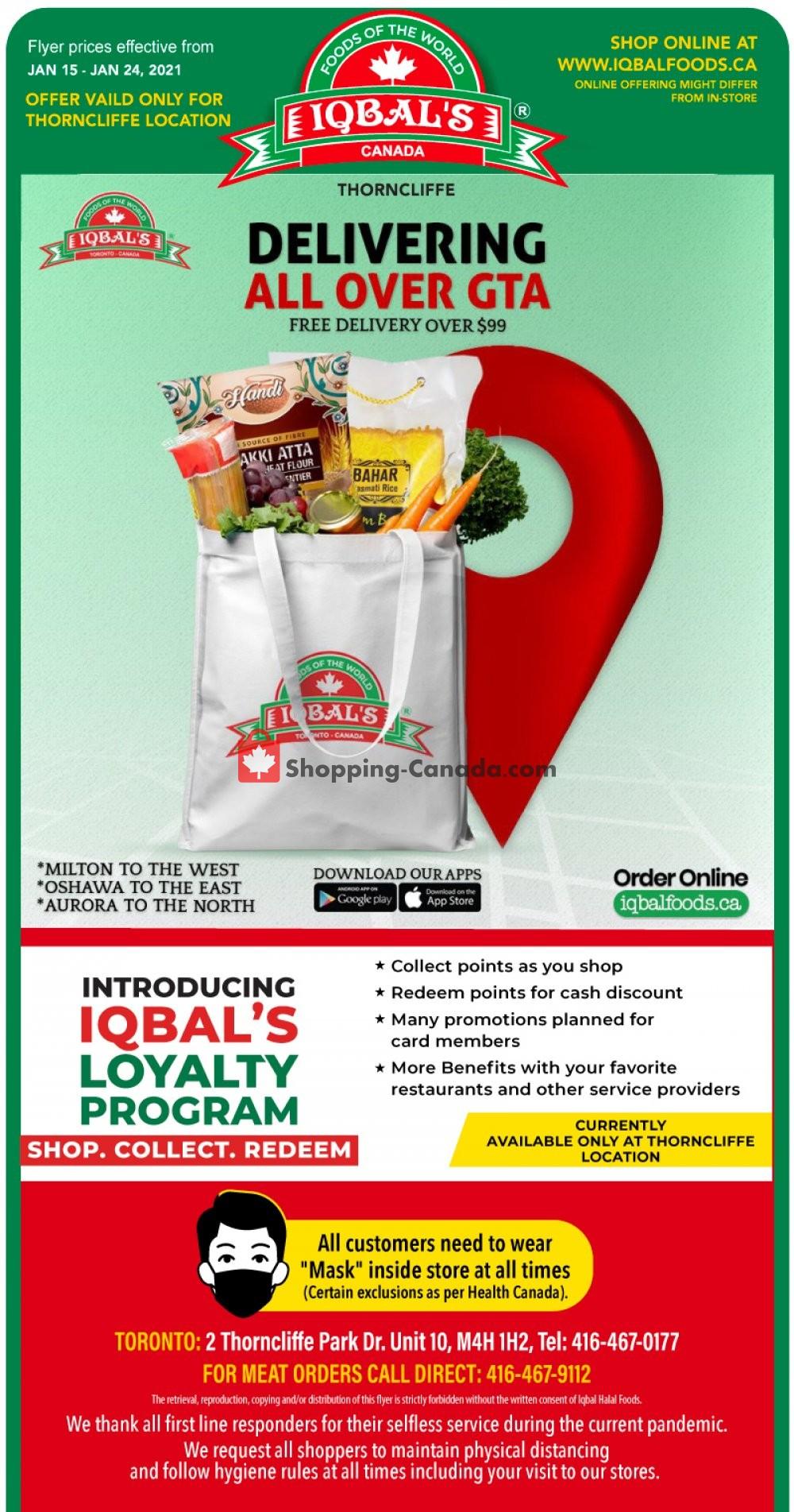 Flyer Iqbal Foods Canada - from Friday January 15, 2021 to Sunday January 24, 2021