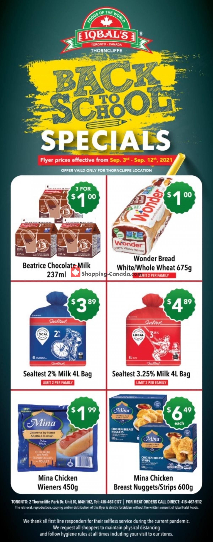 Flyer Iqbal Foods Canada - from Friday September 3, 2021 to Sunday September 12, 2021