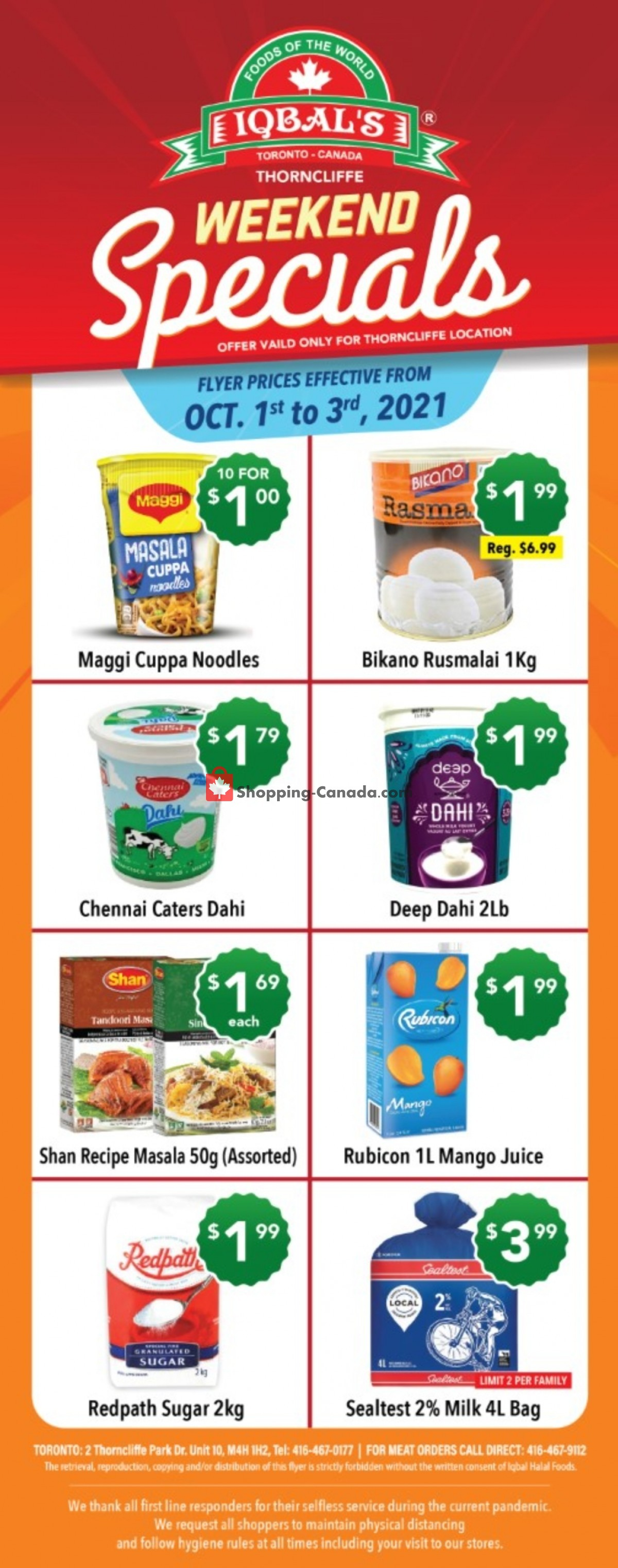 Flyer Iqbal Foods Canada - from Friday October 1, 2021 to Sunday October 3, 2021
