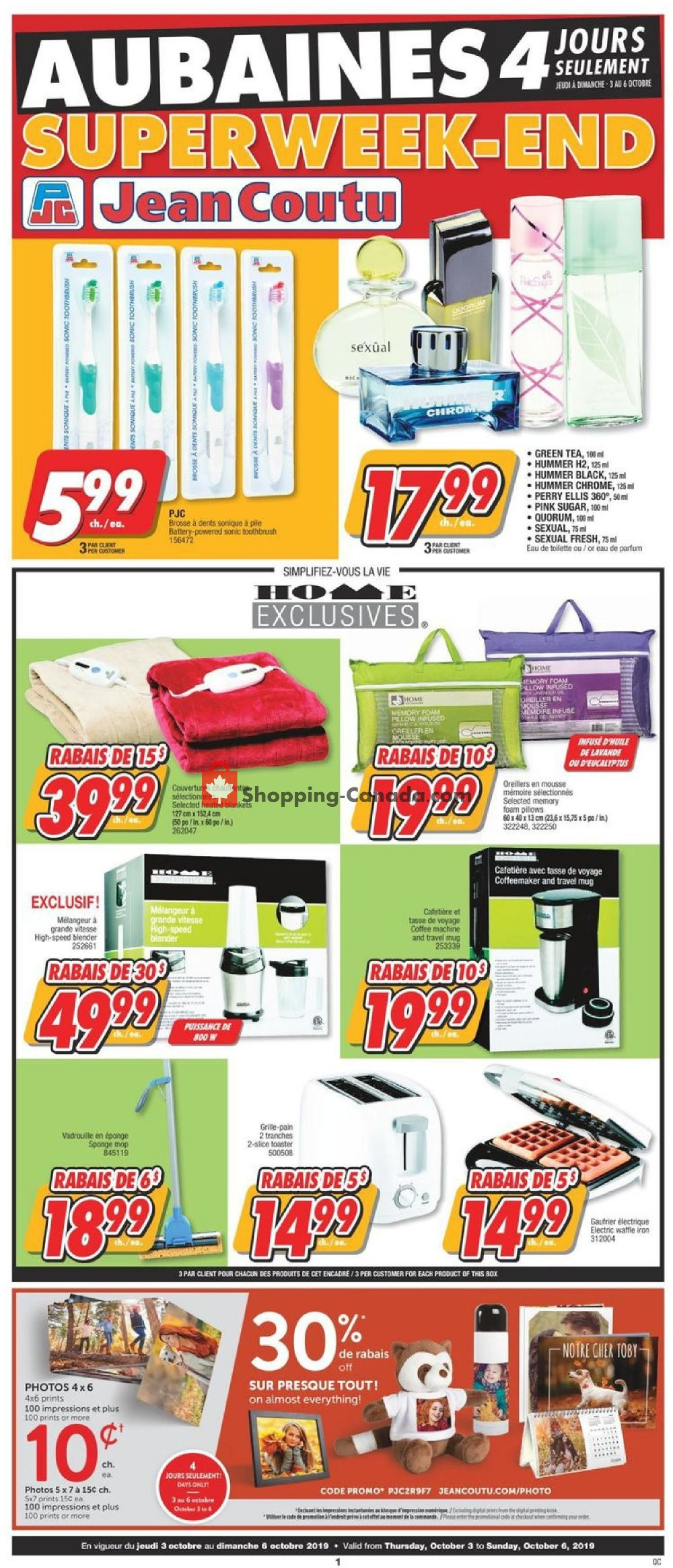 Flyer Jean Coutu Pharmacy Canada - from Thursday October 3, 2019 to Sunday October 6, 2019