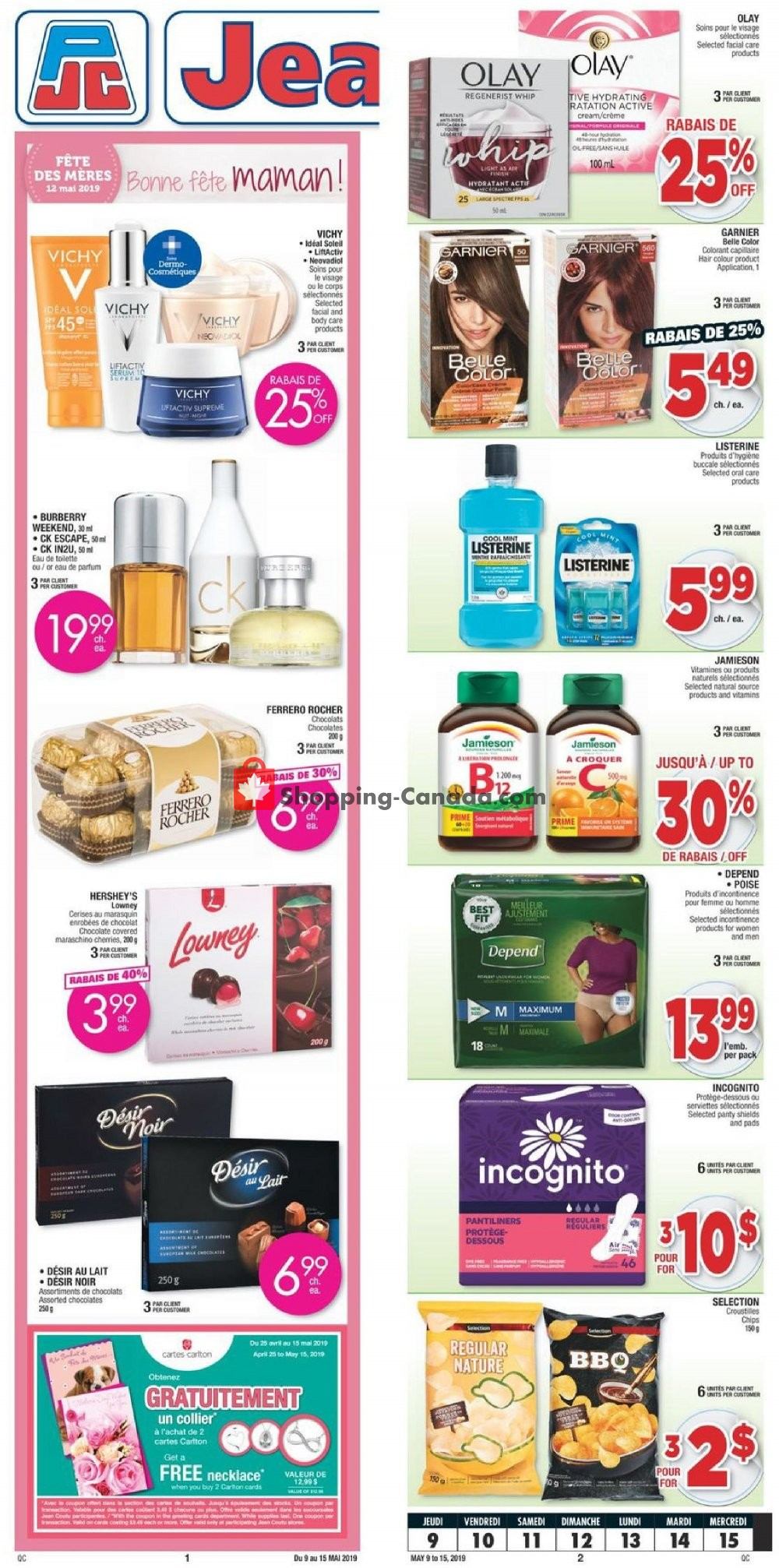 Flyer Jean Coutu Pharmacy Canada - from Thursday May 9, 2019 to Wednesday May 15, 2019