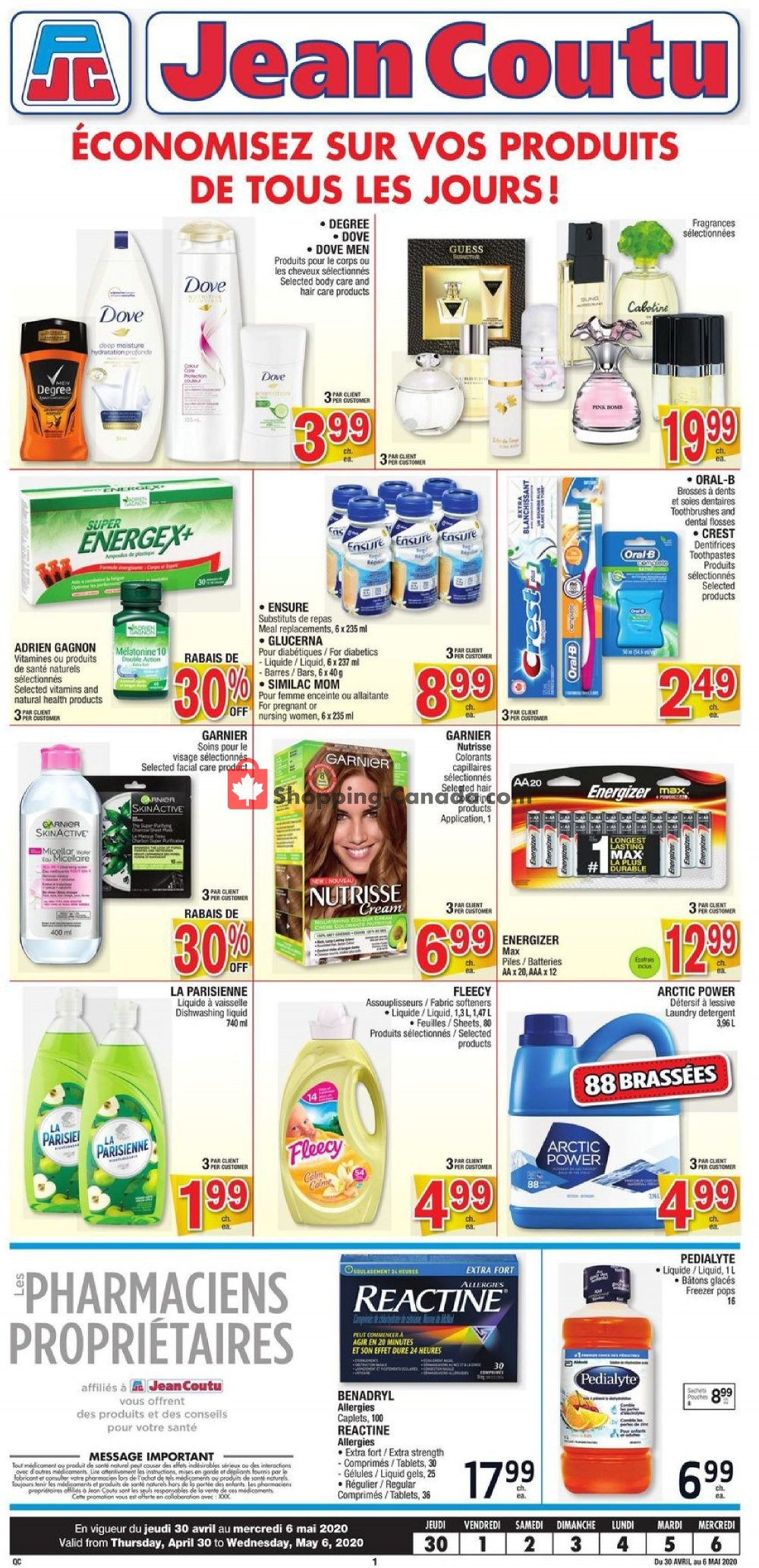Flyer Jean Coutu Pharmacy Canada - from Thursday April 30, 2020 to Wednesday May 6, 2020