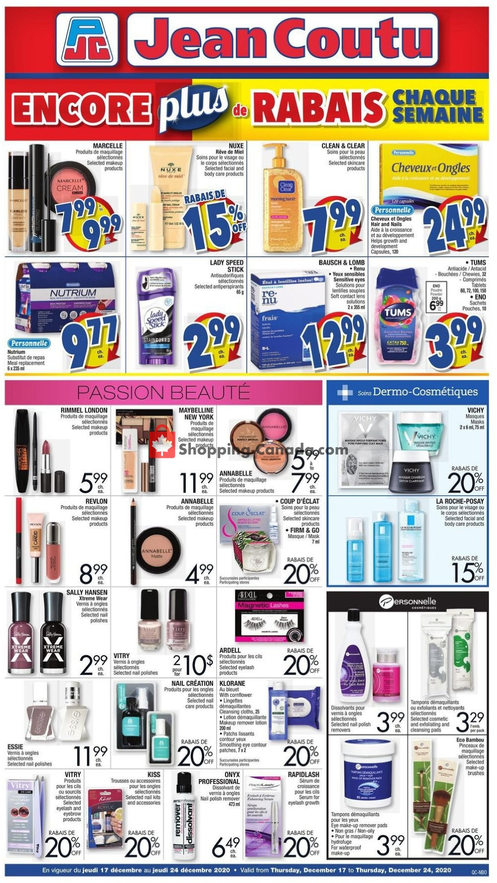 Flyer Jean Coutu Pharmacy Canada - from Thursday December 17, 2020 to Thursday December 24, 2020