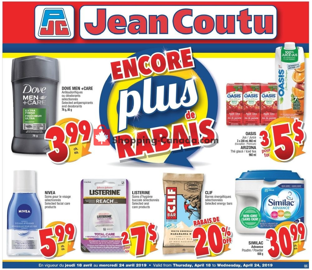 Flyer Jean Coutu Pharmacy Canada - from Thursday April 18, 2019 to Wednesday April 24, 2019