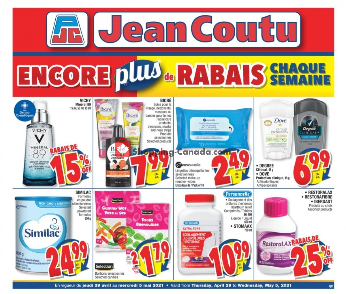 Flyer Jean Coutu Pharmacy Canada - from Thursday April 29, 2021 to Wednesday May 5, 2021