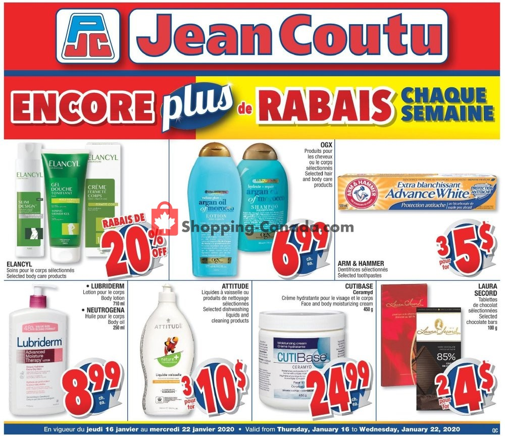 Flyer Jean Coutu Pharmacy Canada - from Thursday January 16, 2020 to Wednesday January 22, 2020