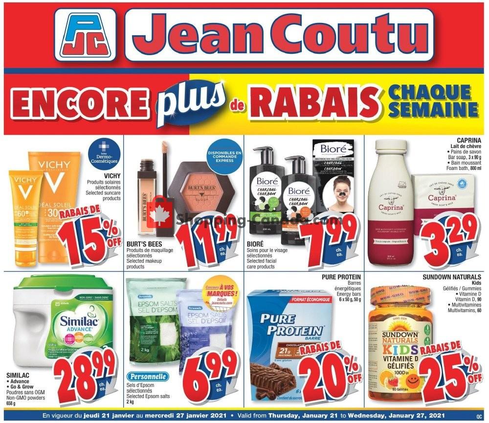 Flyer Jean Coutu Pharmacy Canada - from Thursday January 21, 2021 to Wednesday January 27, 2021