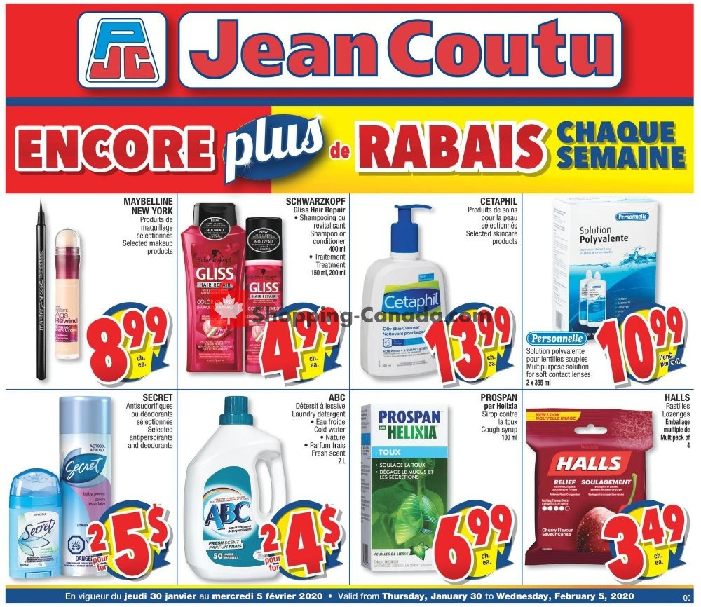 Flyer Jean Coutu Pharmacy Canada - from Thursday January 30, 2020 to Wednesday February 5, 2020