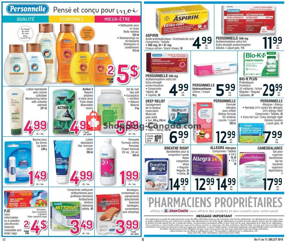 Flyer Jean Coutu Pharmacy Canada - from Thursday July 11, 2019 to Wednesday July 17, 2019