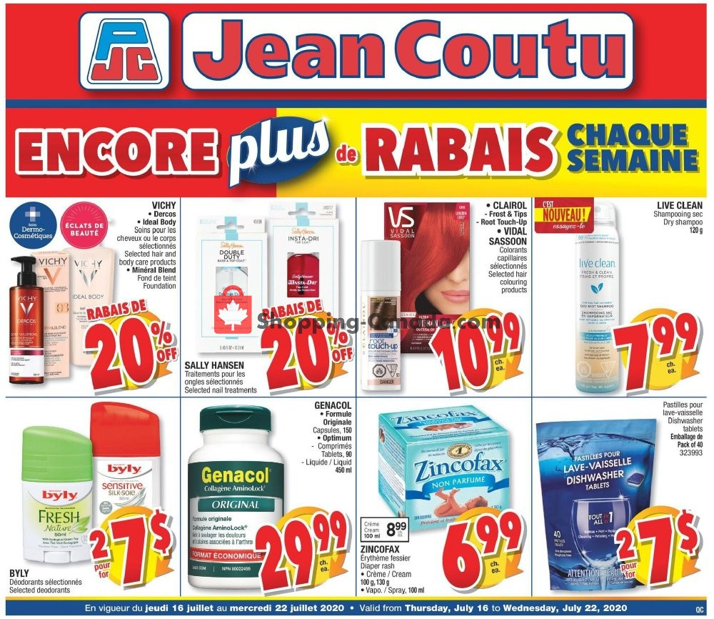 Flyer Jean Coutu Pharmacy Canada - from Thursday July 16, 2020 to Wednesday July 22, 2020