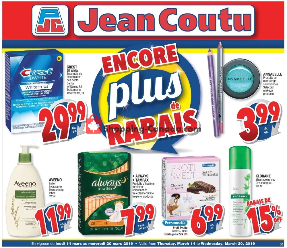 Flyer Jean Coutu Pharmacy Canada - from Thursday March 14, 2019 to Wednesday March 20, 2019
