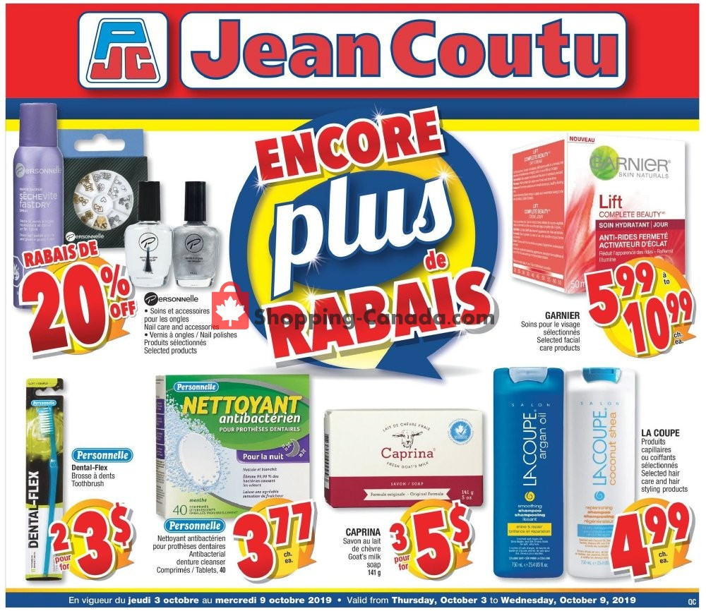 Flyer Jean Coutu Pharmacy Canada - from Thursday October 3, 2019 to Wednesday October 9, 2019