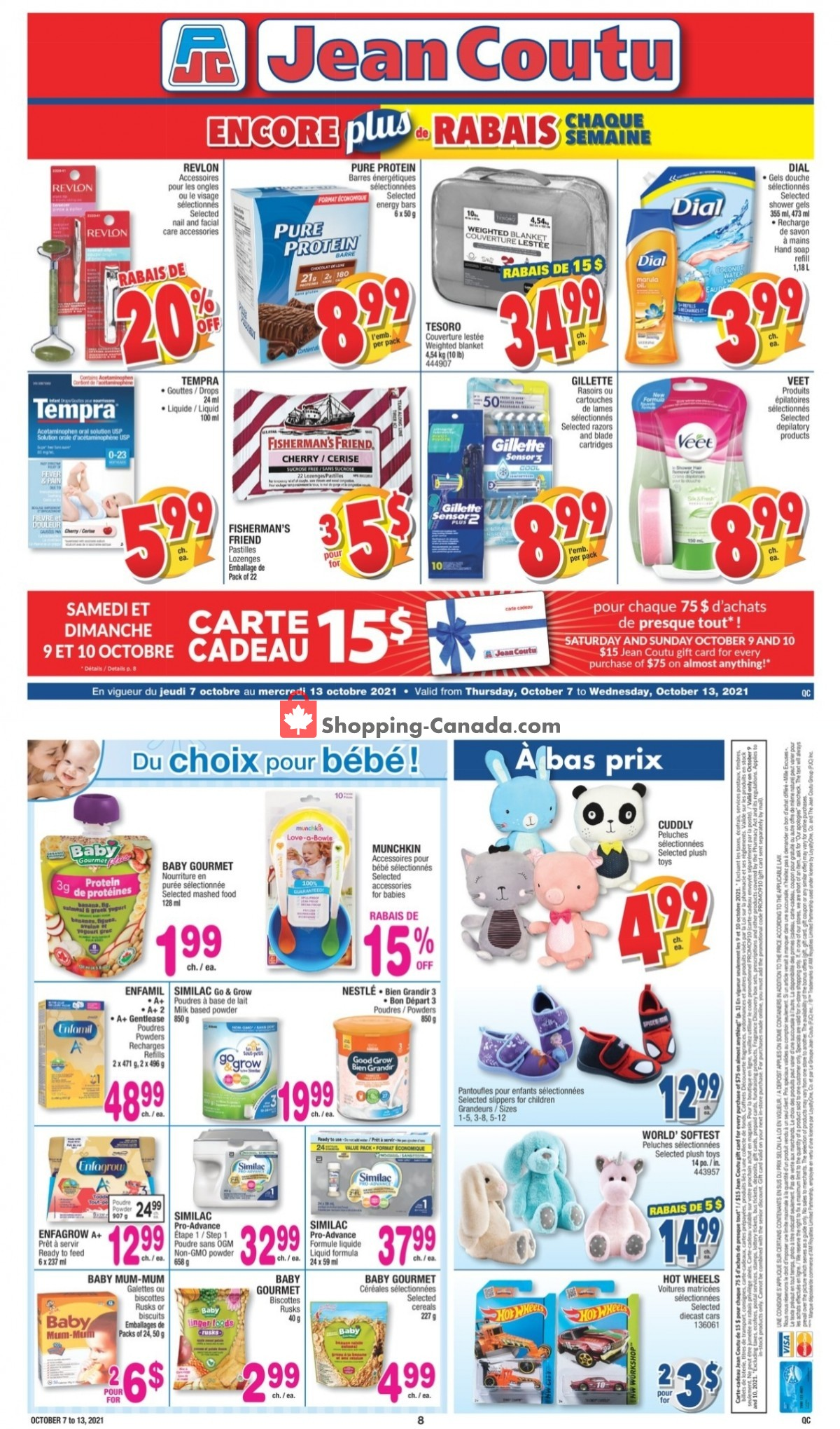 Flyer Jean Coutu Pharmacy Canada - from Thursday October 7, 2021 to Wednesday October 13, 2021