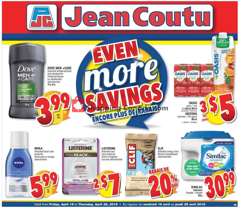 Flyer Jean Coutu Pharmacy Canada - from Friday April 19, 2019 to Thursday April 25, 2019