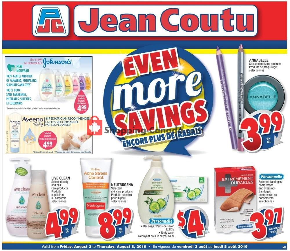 Flyer Jean Coutu Pharmacy Canada - from Friday August 2, 2019 to Thursday August 8, 2019
