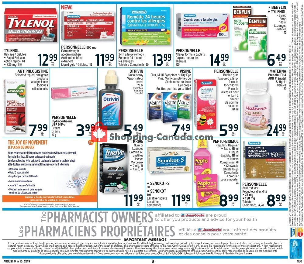Flyer Jean Coutu Pharmacy Canada - from Friday August 9, 2019 to Thursday August 15, 2019