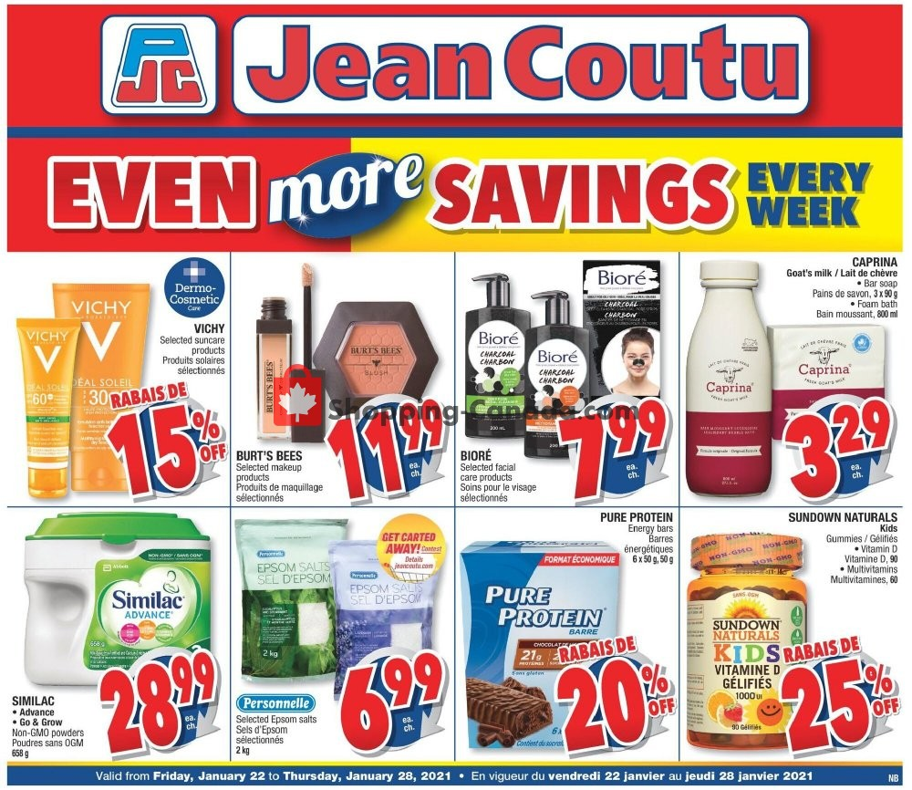 Flyer Jean Coutu Pharmacy Canada - from Friday January 22, 2021 to Thursday January 28, 2021