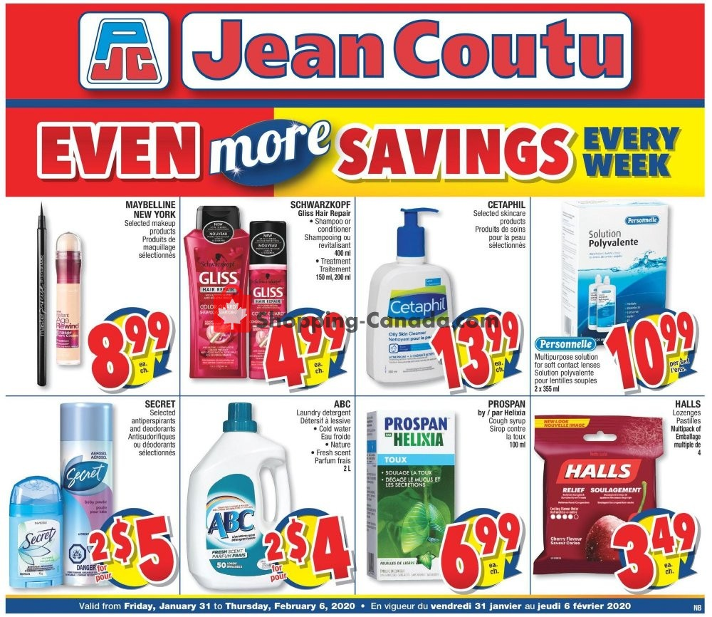 Flyer Jean Coutu Pharmacy Canada - from Friday January 31, 2020 to Thursday February 6, 2020