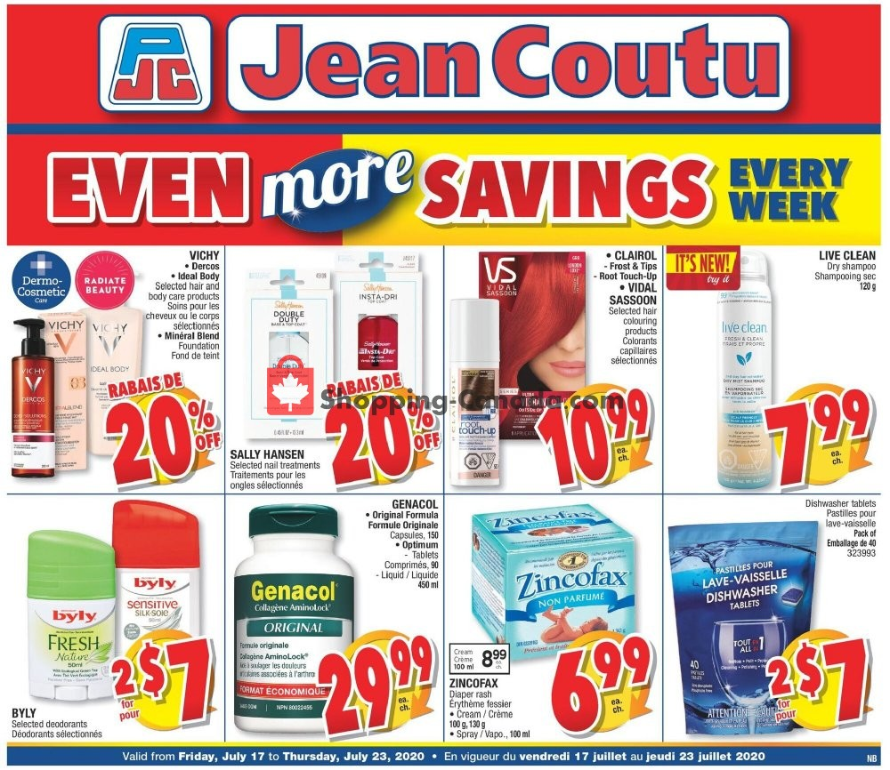 Flyer Jean Coutu Pharmacy Canada - from Friday July 17, 2020 to Thursday July 23, 2020