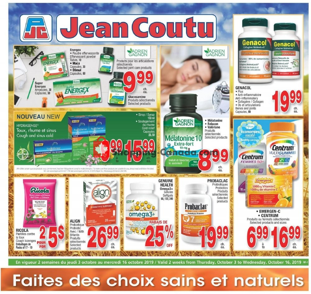 Flyer Jean Coutu Pharmacy Canada - from Thursday October 3, 2019 to Wednesday October 16, 2019