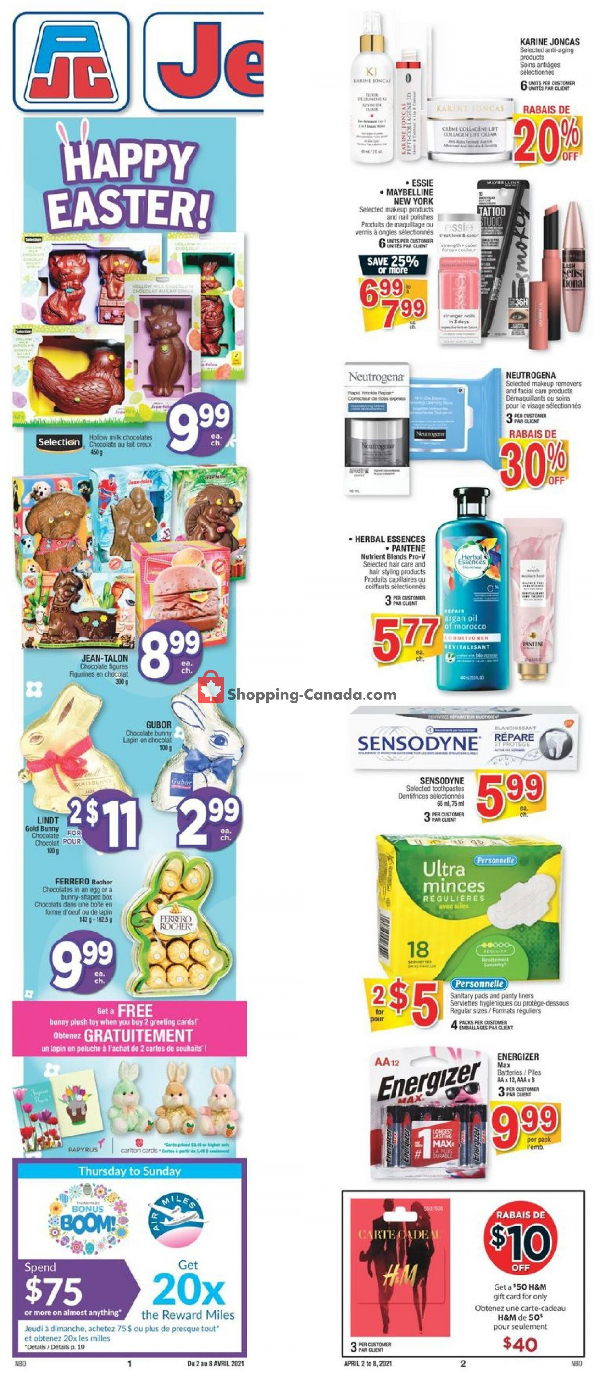 Flyer Jean Coutu Pharmacy Canada - from Friday April 2, 2021 to Thursday April 8, 2021