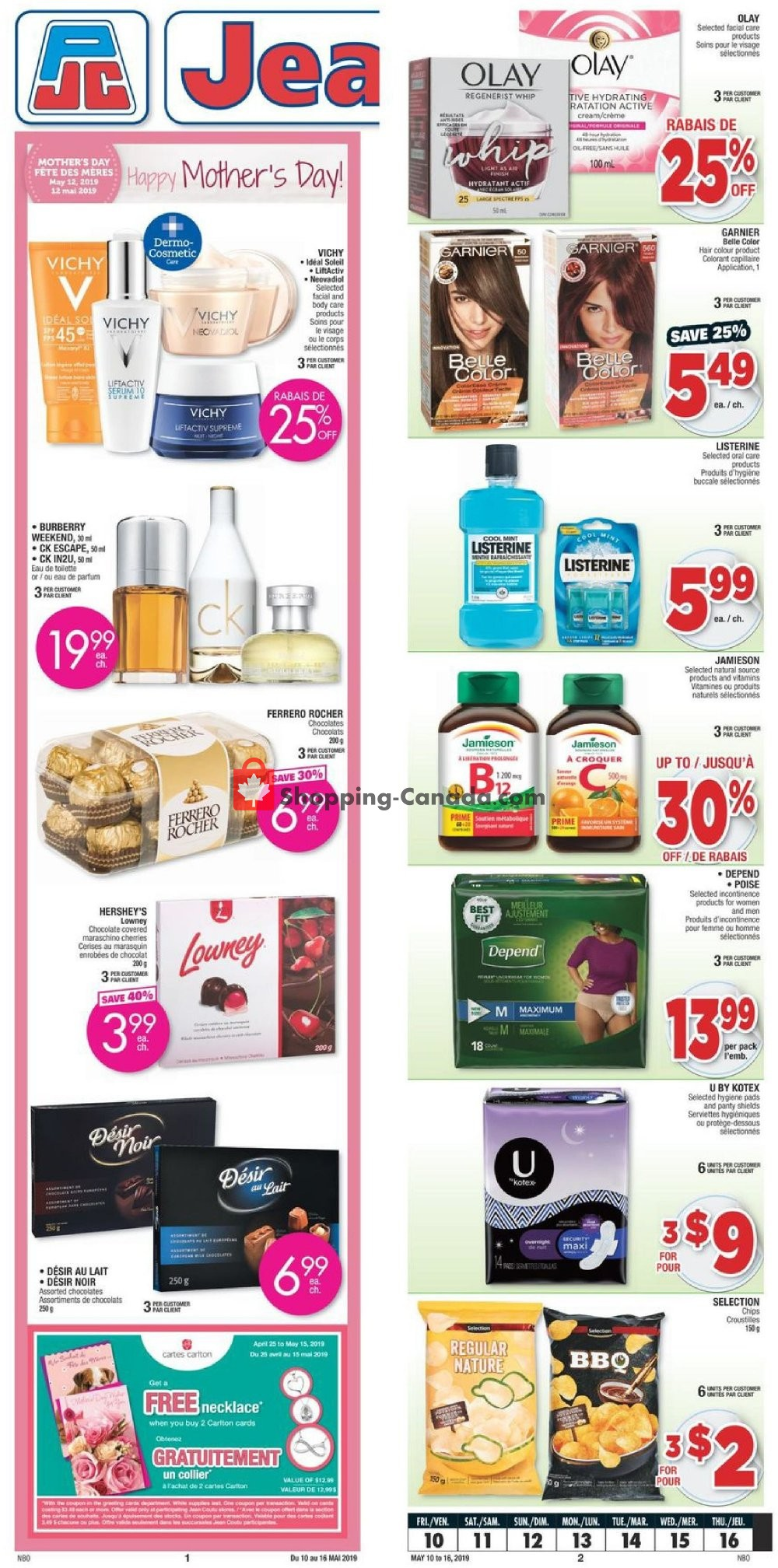 Flyer Jean Coutu Pharmacy Canada - from Friday May 10, 2019 to Thursday May 16, 2019