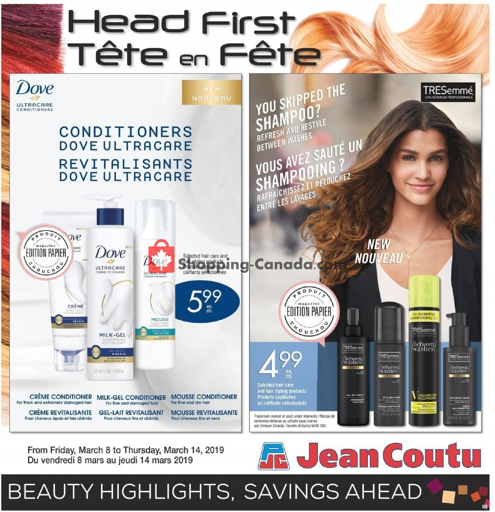 Flyer Jean Coutu Pharmacy Canada - from Friday March 8, 2019 to Thursday March 14, 2019