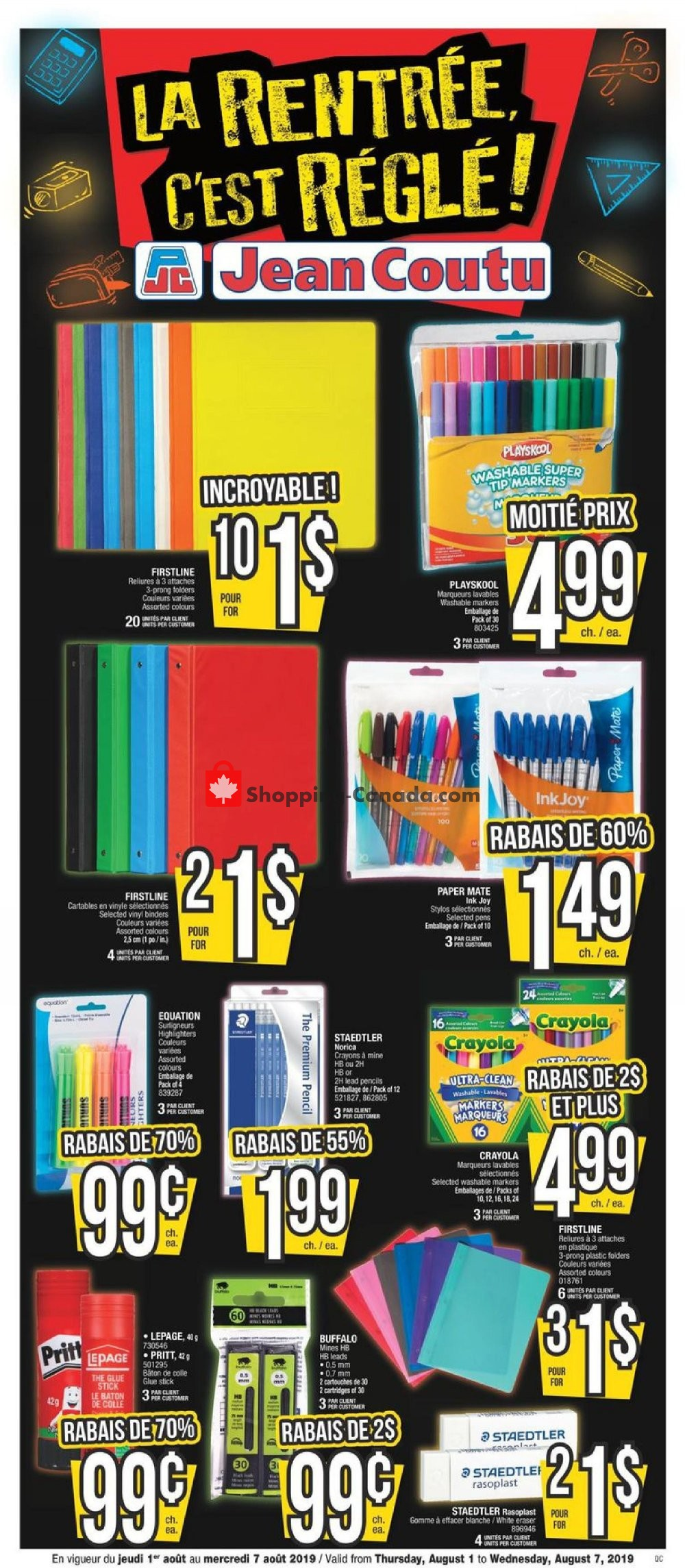 Flyer Jean Coutu Pharmacy Canada - from Thursday August 1, 2019 to Wednesday August 7, 2019