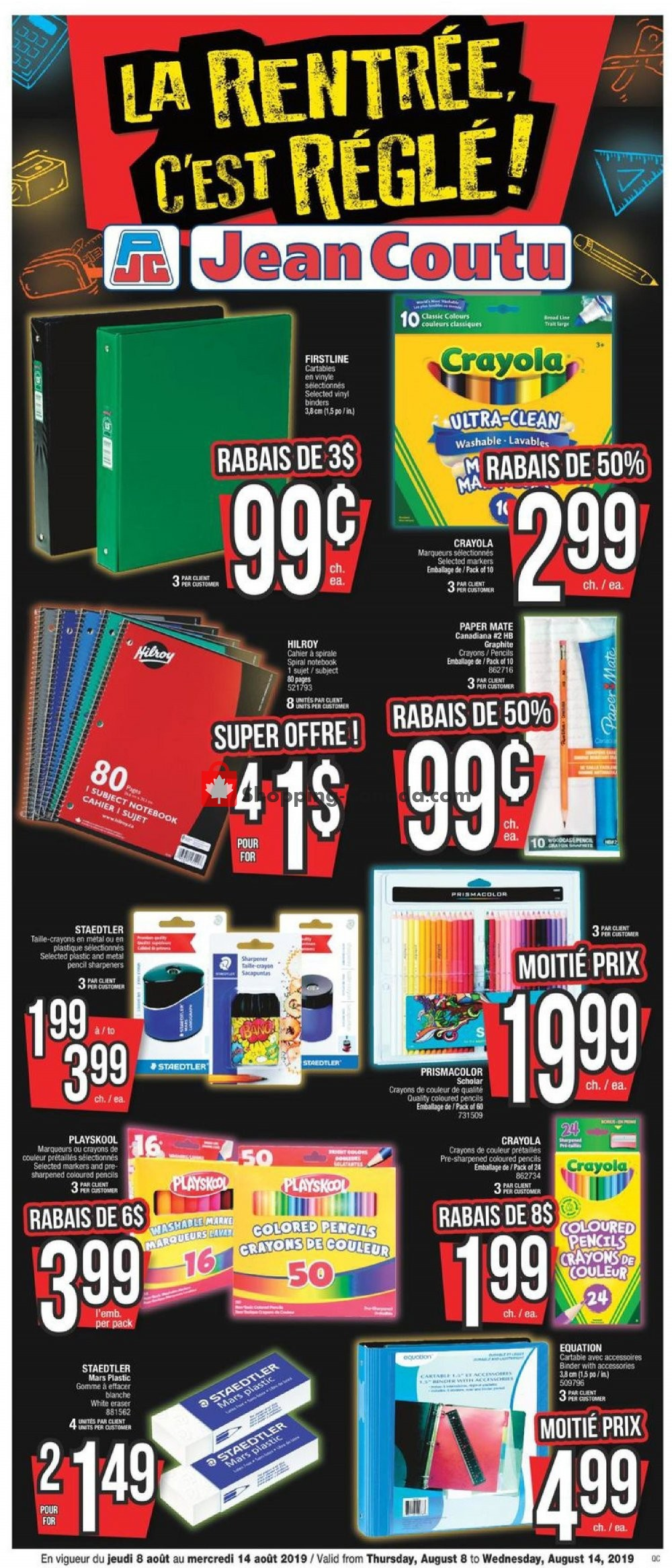 Flyer Jean Coutu Pharmacy Canada - from Thursday August 8, 2019 to Wednesday August 14, 2019