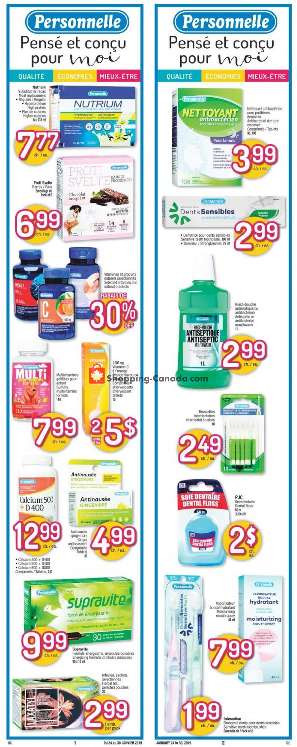 Flyer Jean Coutu Pharmacy Canada - from Thursday January 24, 2019 to Wednesday January 30, 2019