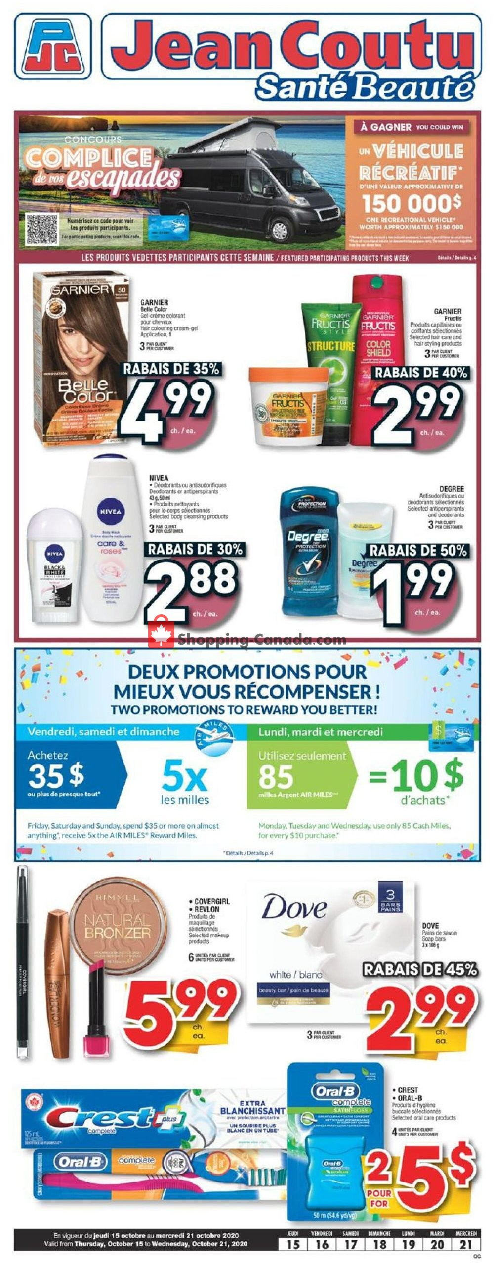 Flyer Jean Coutu Pharmacy Canada - from Thursday October 15, 2020 to Wednesday October 21, 2020