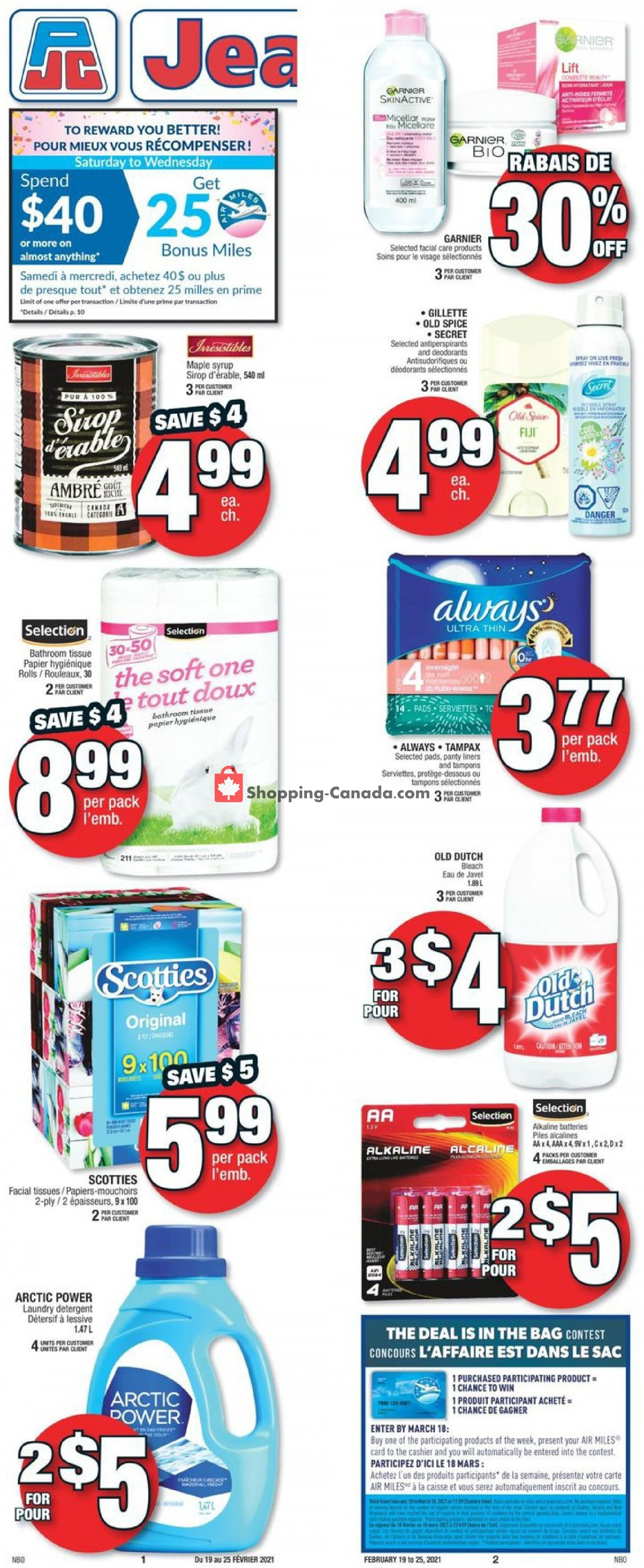 Flyer Jean Coutu Pharmacy Canada - from Friday February 19, 2021 to Thursday February 25, 2021