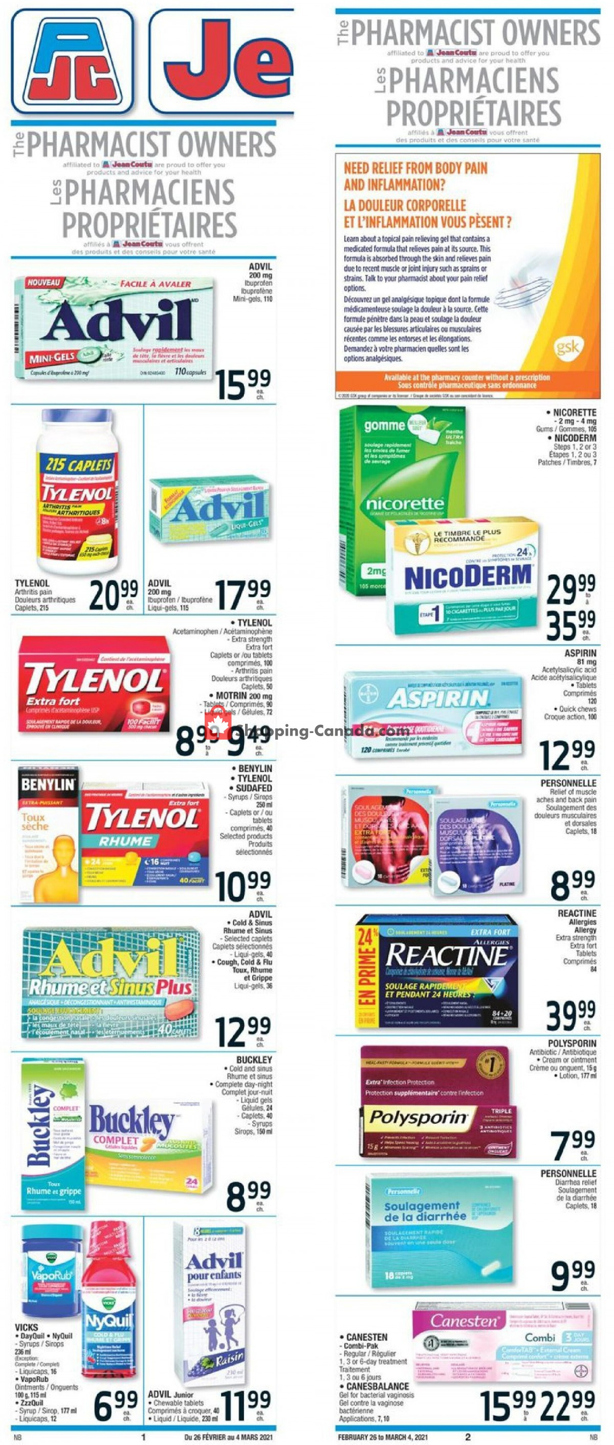 Flyer Jean Coutu Pharmacy Canada - from Friday February 26, 2021 to Thursday March 4, 2021