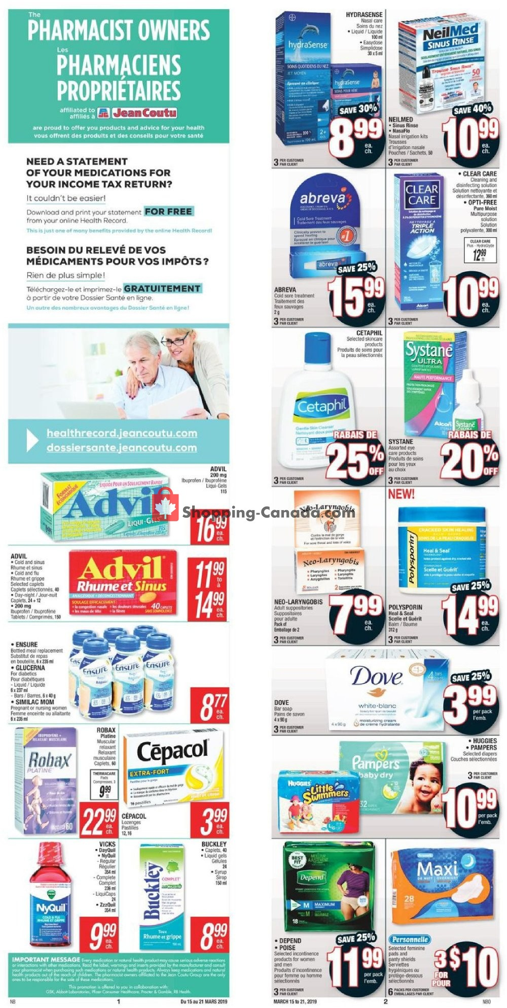 Flyer Jean Coutu Pharmacy Canada - from Friday March 15, 2019 to Thursday March 21, 2019
