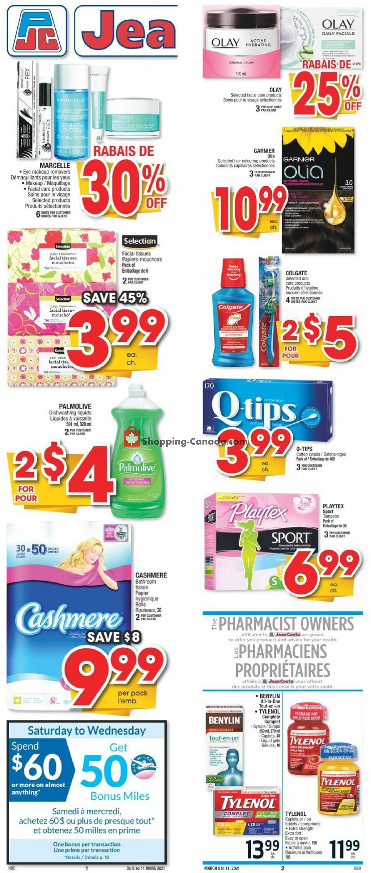 Flyer Jean Coutu Pharmacy Canada - from Friday March 5, 2021 to Thursday March 11, 2021