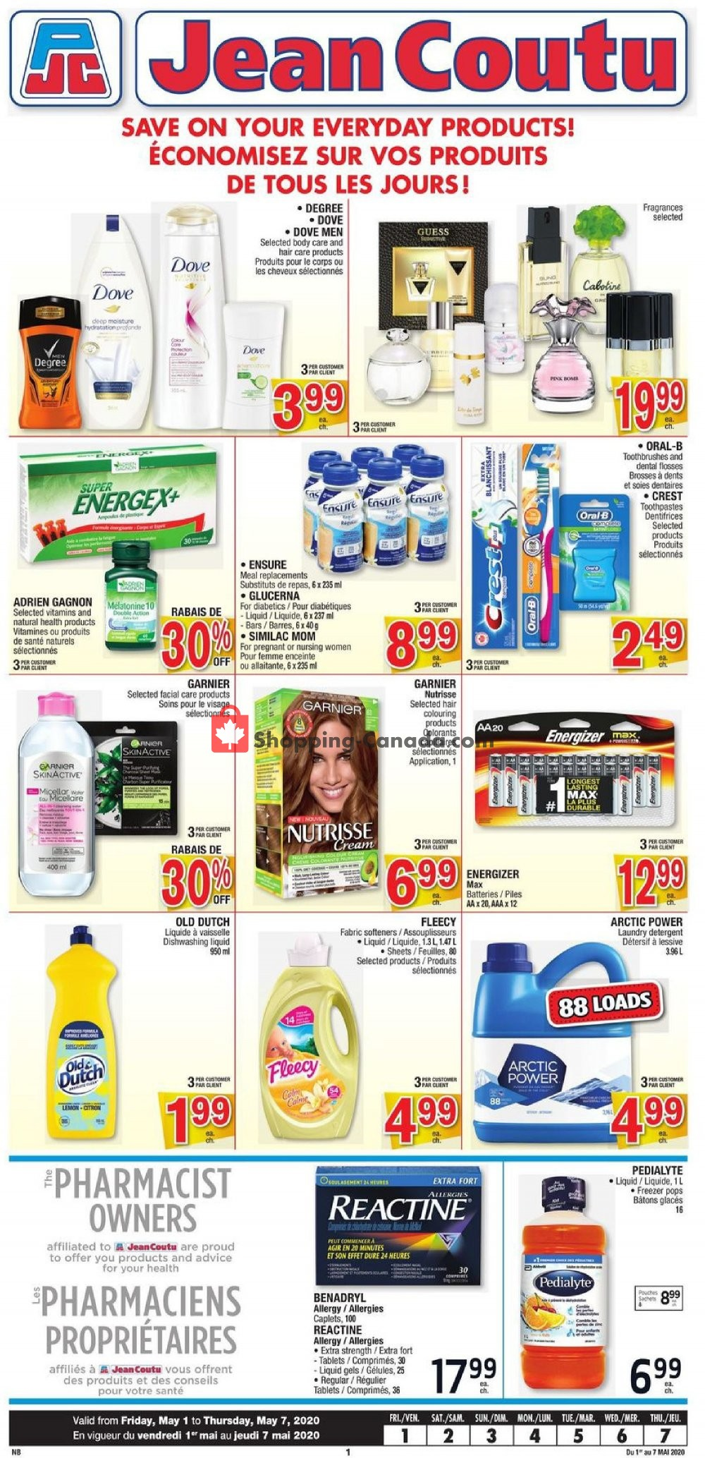 Flyer Jean Coutu Pharmacy Canada - from Friday May 1, 2020 to Thursday May 7, 2020