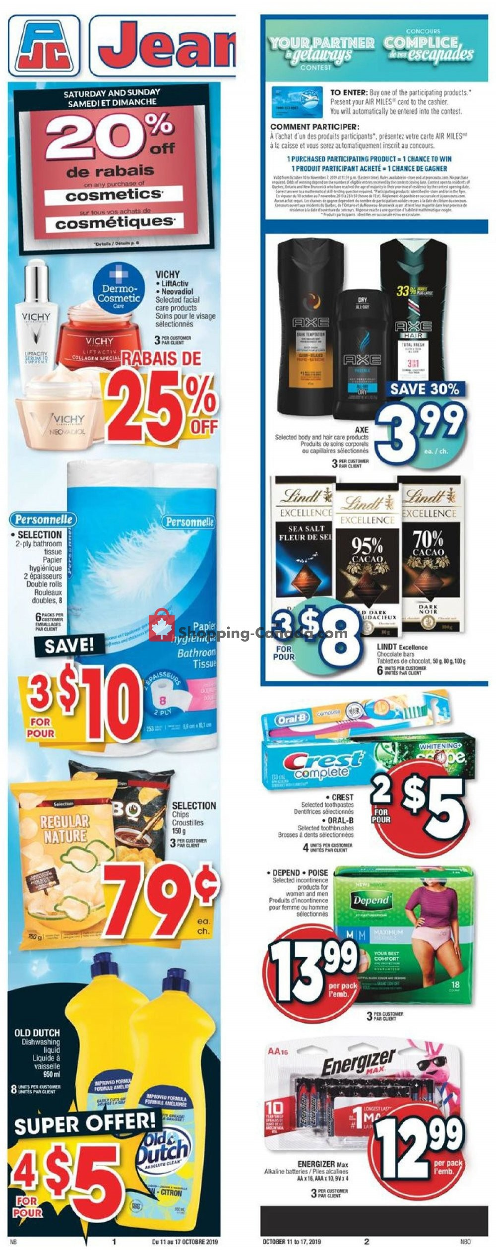 Flyer Jean Coutu Pharmacy Canada - from Friday October 11, 2019 to Thursday October 17, 2019