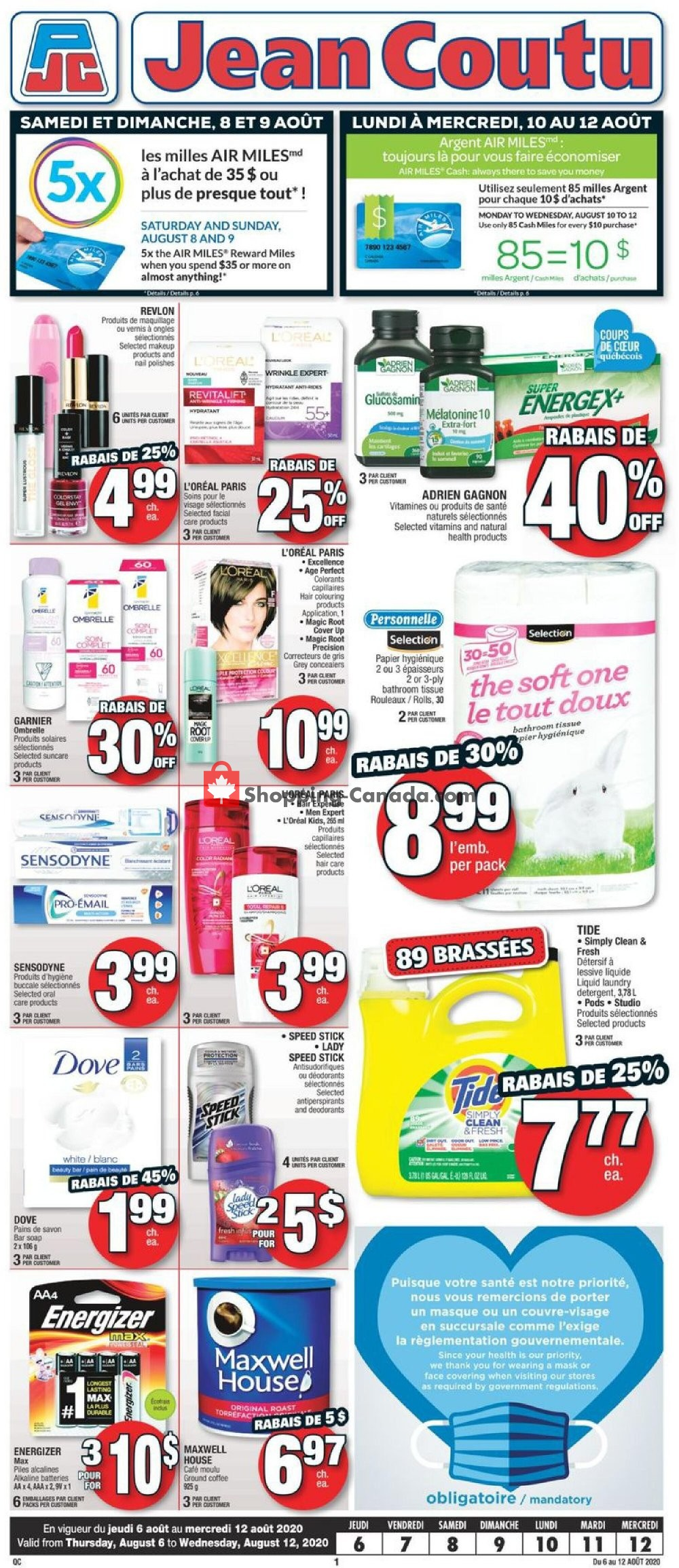 Flyer Jean Coutu Pharmacy Canada - from Thursday August 6, 2020 to Wednesday August 12, 2020