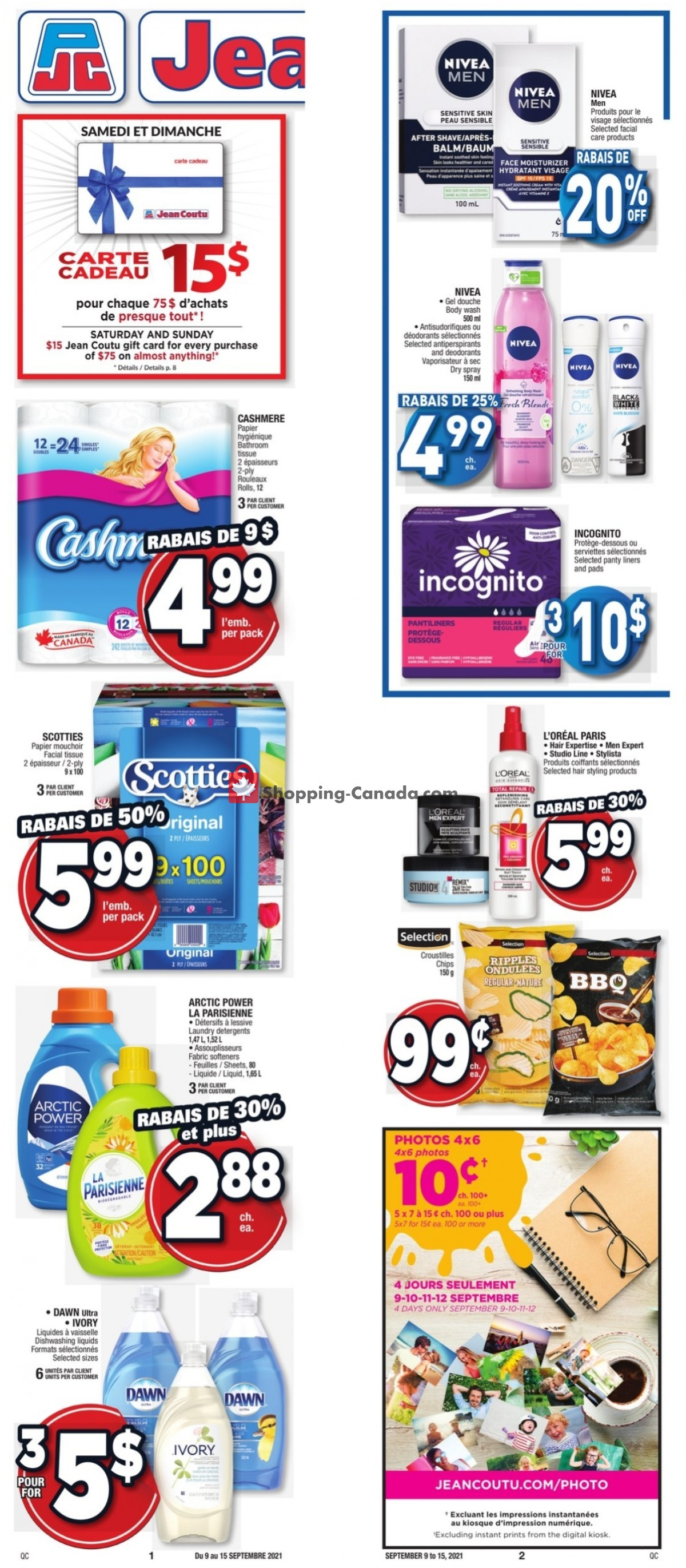 Flyer Jean Coutu Pharmacy Canada - from Thursday September 9, 2021 to Wednesday September 15, 2021
