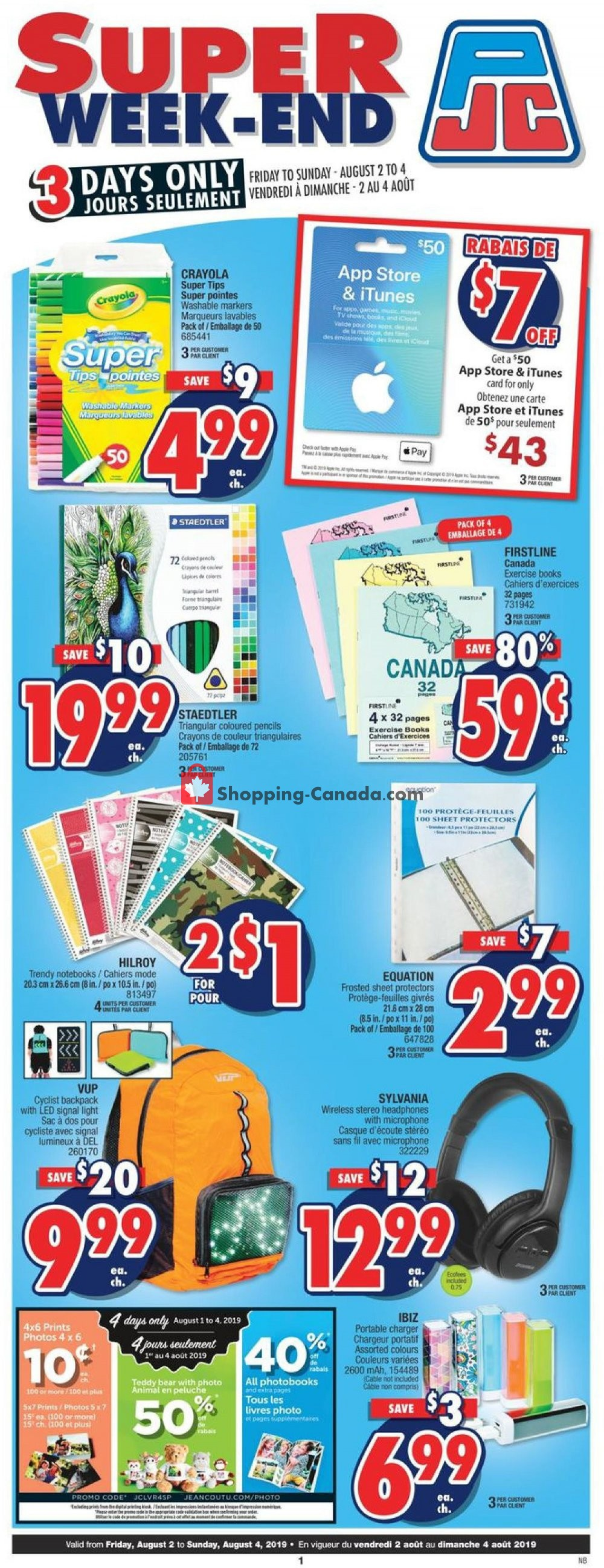 Flyer Jean Coutu Pharmacy Canada - from Friday August 2, 2019 to Sunday August 4, 2019