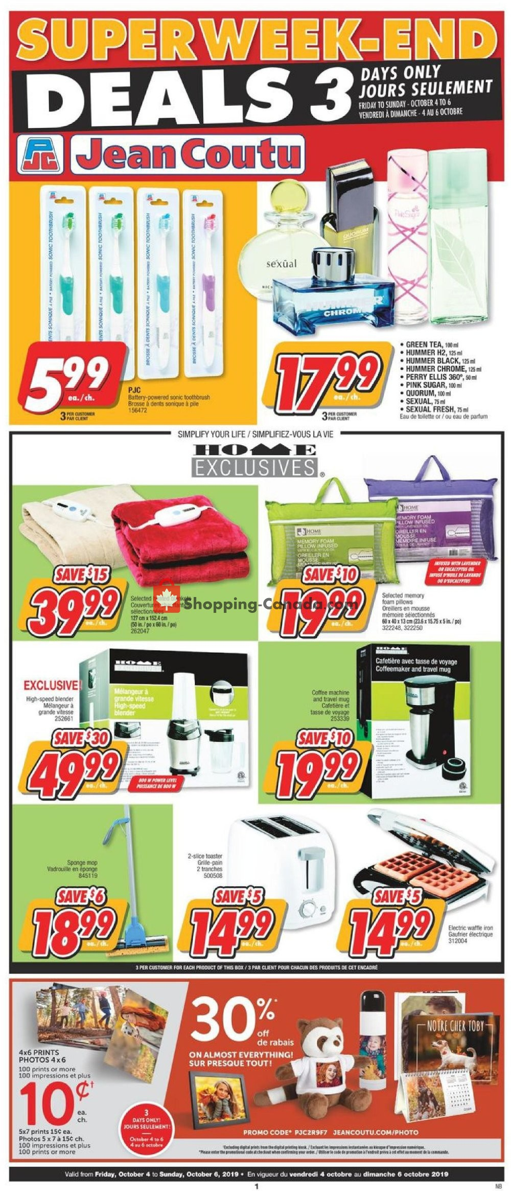 Flyer Jean Coutu Pharmacy Canada - from Friday October 4, 2019 to Sunday October 6, 2019