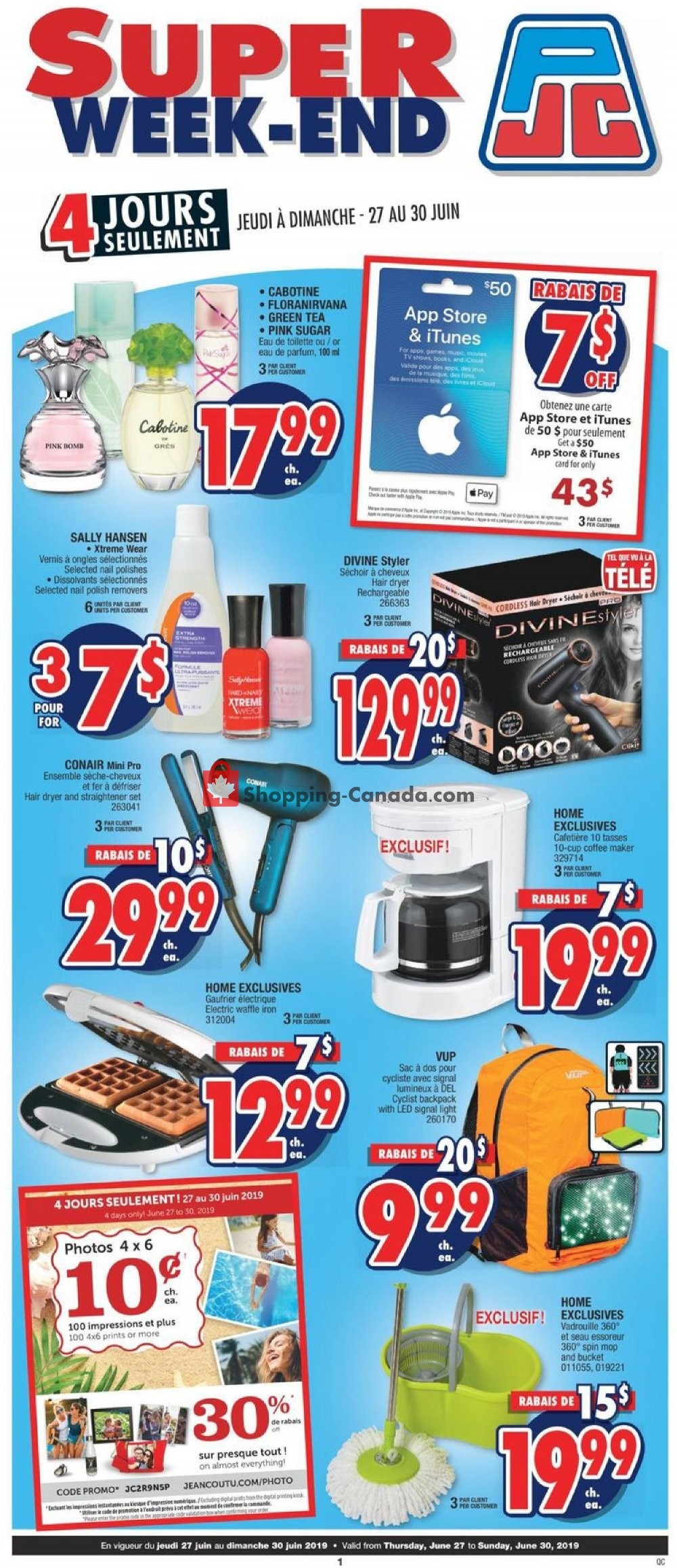 Flyer Jean Coutu Pharmacy Canada - from Thursday June 27, 2019 to Sunday June 30, 2019