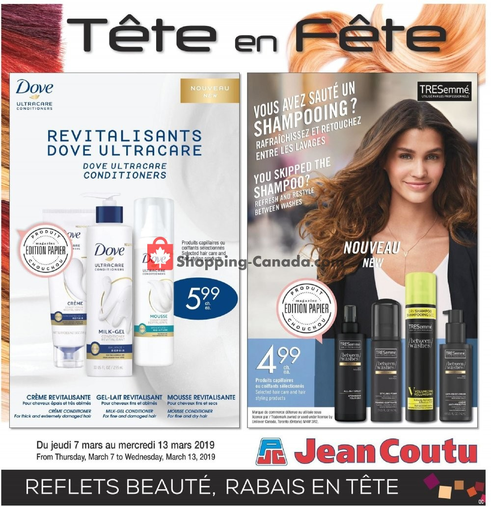 Flyer Jean Coutu Pharmacy Canada - from Thursday March 7, 2019 to Wednesday March 13, 2019