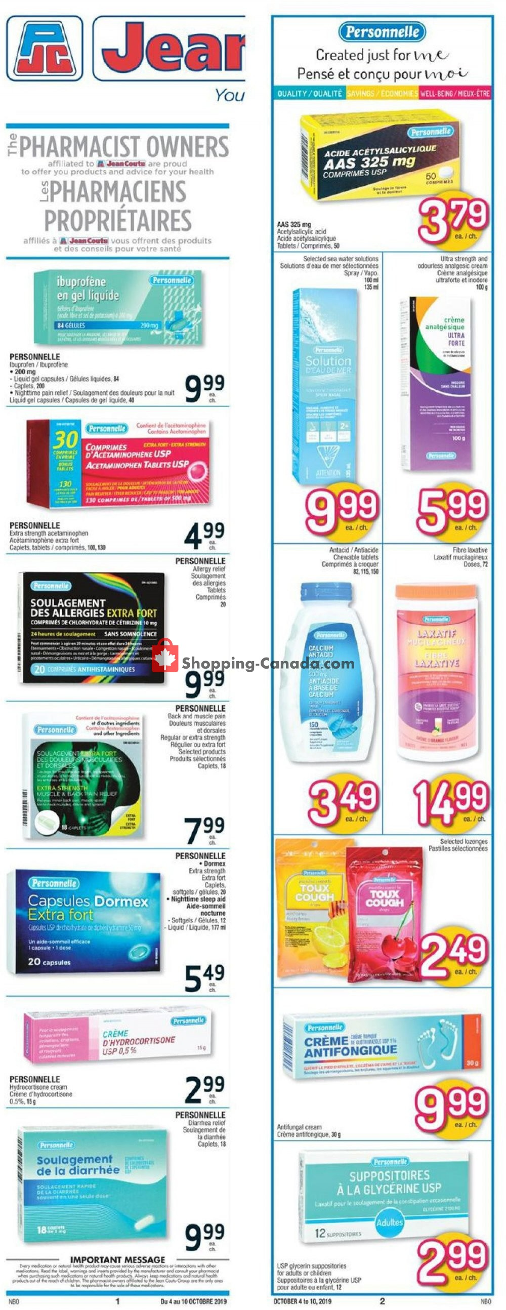 Flyer Jean Coutu Pharmacy Canada - from Friday October 4, 2019 to Thursday October 10, 2019