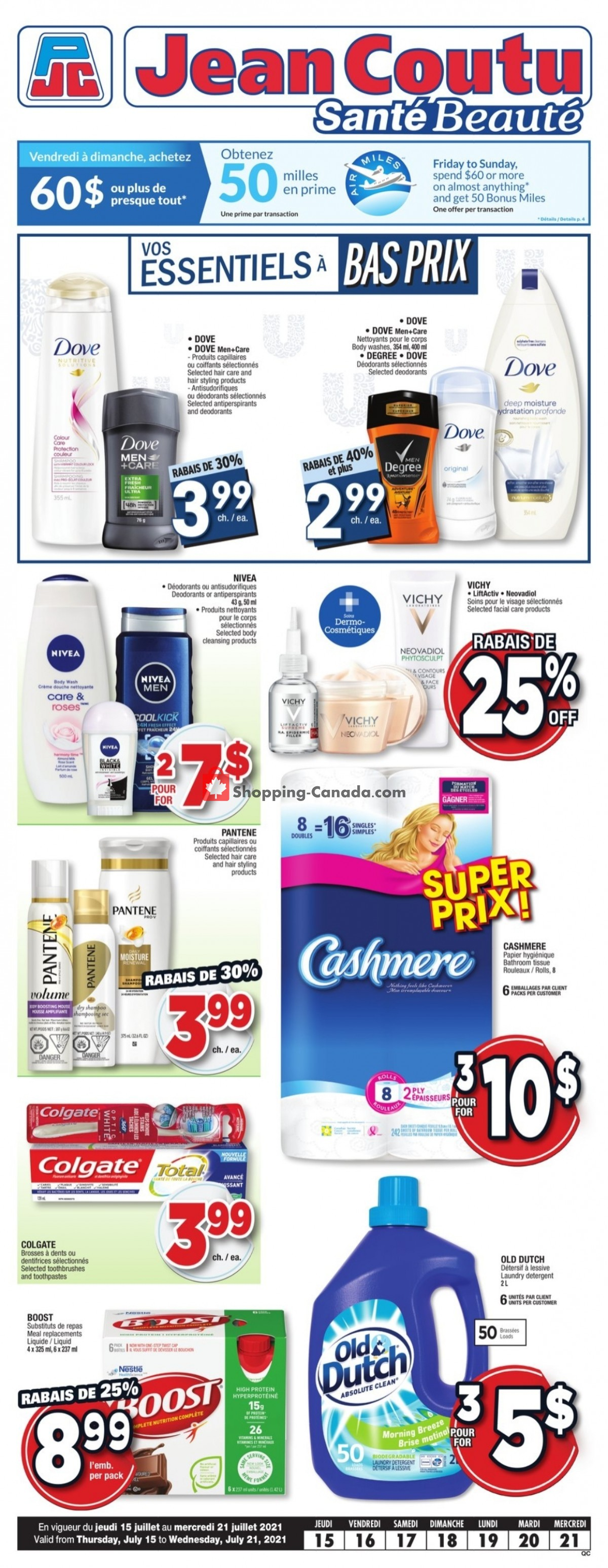 Flyer Jean Coutu Pharmacy Canada - from Thursday July 15, 2021 to Wednesday July 21, 2021