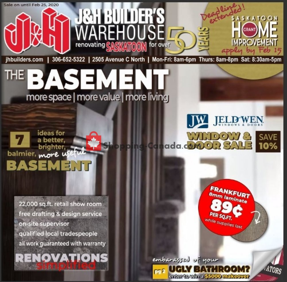 Flyer J&H Builder's Warehouse Canada - from Wednesday February 5, 2020 to Tuesday February 25, 2020