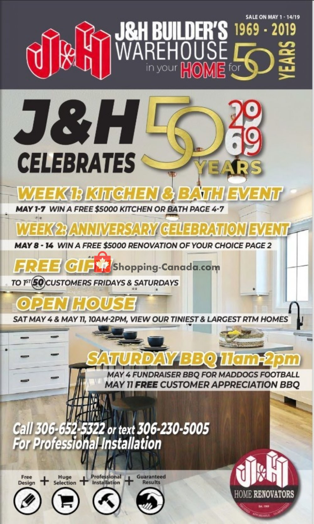 Flyer J&H Builder's Warehouse Canada - from Wednesday May 1, 2019 to Tuesday May 14, 2019
